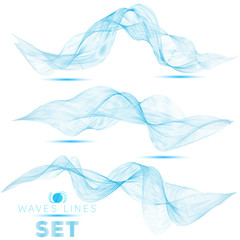 great set beautiful blend blue waves abstract background