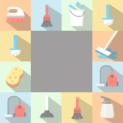 Vector application Cleaning Icons set in flat style with long