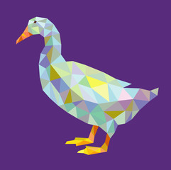 Duck triangle low polygon vector