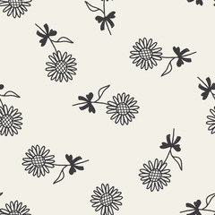 doodle flower seamless pattern background