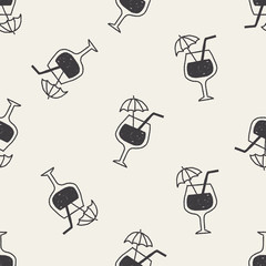 doodle cocktail seamless pattern background