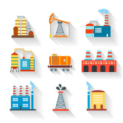 Industrial and Building icons flat style,