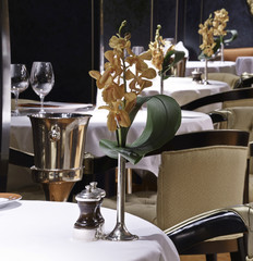 Formal dining table set up in luxury restaurant