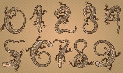 Set of ten vector numbers like lizards