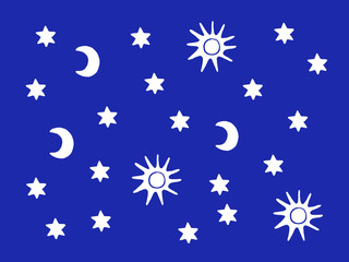 Sun, moon and stars white silhouettes in the blue sky background