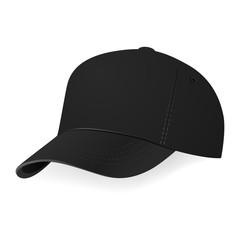 Vector illustration of black baseball cap in a half-turn
