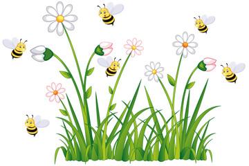 Bienen sammeln fleißg Honig