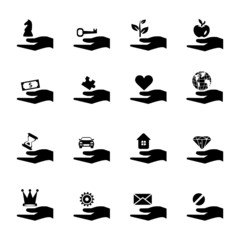 Hand and object concept vector icon set