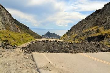 Political Road Block of rock and debris in Bolivia