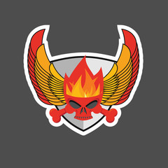 skull with flames on the shield and wings. Heraldry