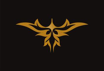 Wing gold tribal logo vector