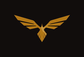 Gold bird logo vector wings silhouette