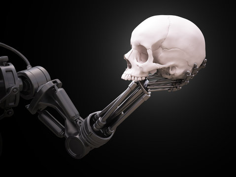 Robot arm with a human skull