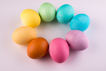 Pastel Easter Eggs Circle Isolated On White