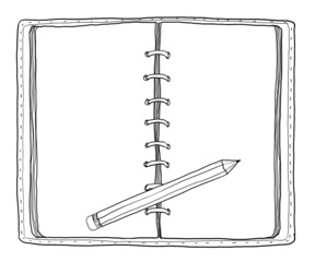 notebook and  pencil vintage cute hand drawn