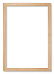 The wooden frame on the white background