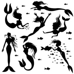 Set silhouette mermaids