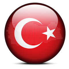 Map with Dot Pattern on flag button of Republic Turkey