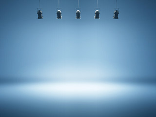 blue spotlight background with studio lamps Wall mural
