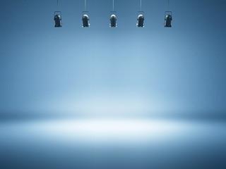 Photo sur Aluminium Lumiere, Ombre blue spotlight background with studio lamps