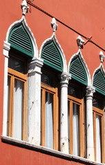 Typical renaissance windows in Venice, Italy
