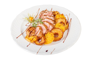 Grilled pork with tropical fruit