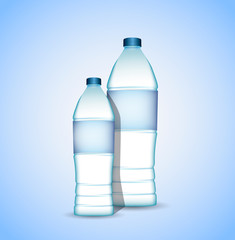 Bottles of water with generic labels isolated on blue background