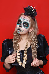 """Young girls with appliance make-up in the style of """"Halloween"""""""