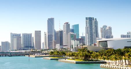 Panoramic view of the downtown Miami skyline, Florida, USA.
