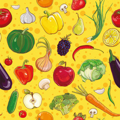 vector seamless pattern with vegetables and fruits