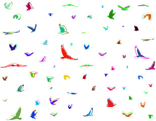 dynamic color silhouettes of birds seamless pattern
