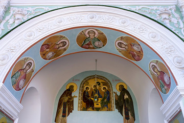mural on the facade wall in the Trinity-Sergius Lavra. UNESCO Wo