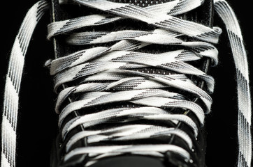 Hockey laces close up