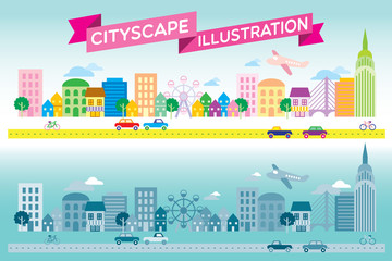 Colorful and monotone cityscape icon flat style vector