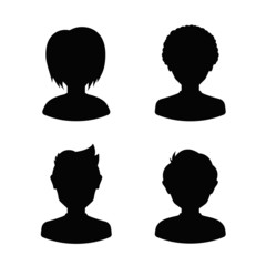 Avatar profile silhouettes of young people, man and woman
