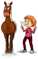 Young boy and a horse