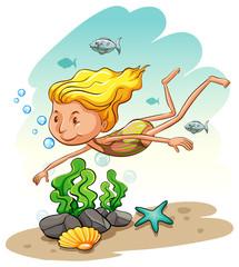 Girl enjoying underwater