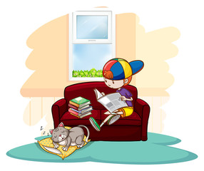Boy studying inside the house