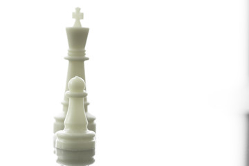 close up of chess pawn becomes  king chess