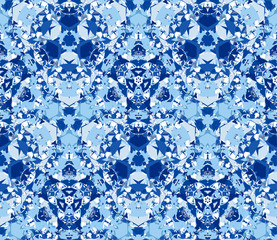 Seamless pattern consisting of abstract elements in blue