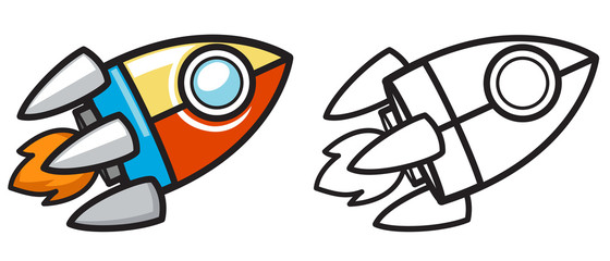 colorful and black and white rocket for coloring book