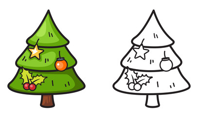 colorful and black and white x-mas tree for coloring book