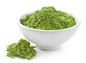 bowl of wheat sprouts powder