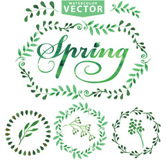 Watercolor Spring template.Word,leavest,brunshes