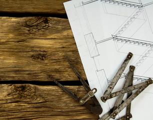 Many drawings for building and working tools on old wooden