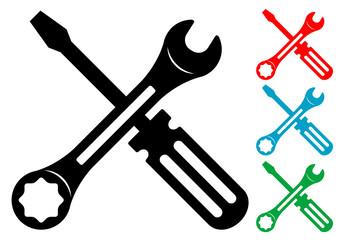 Pictograma herramientas en varios colores