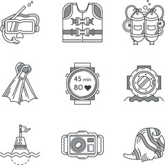 Black line icons for diving