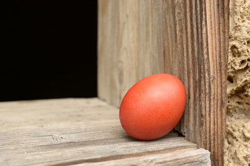Vintage Easter egg on a wooden background