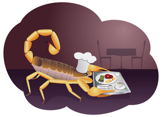 Scorpion waiter is carrying a tray with food and drink