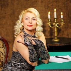 blonde Vintage fashion Senior woman in vintage dress